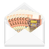 Envelope and fifty euro banknotes — Stock Vector
