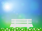 Wooden bench on grass — Stock Vector