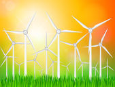 Wind generators landscape — Stock Vector