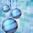 Christmas balls abstract bokeh blue — Stock Vector