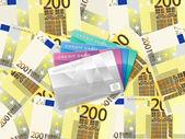 Fondo de doscientos euros y tarjetas de crédito — Vector de stock
