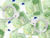 Handboeien op honderd euro achtergrond — Stockvector
