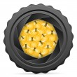 Camera shutter with bees and honeycomb — Vector de stock