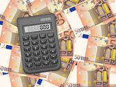 Calculator on fifty euro background — Stock Vector