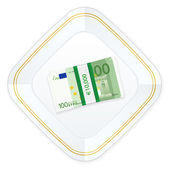 Płyta i sto euro pakiet — Wektor stockowy