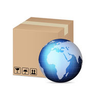 Box and world globe — Stock Vector