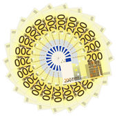 Two hundred euro banknotes — Stock Vector