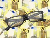 Reading glasses on two hundred euro background — Stock Vector