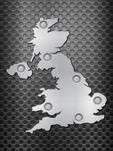 UK metal map — Stock Vector