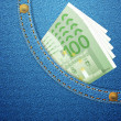 Denim pocket and 100 euro banknotes — Vetorial Stock #41324051