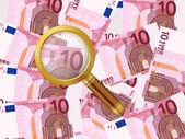 Magnifier on ten euro background — Stock Vector