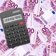 Stock Vector: Calculator on five hundred euro background