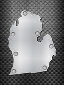 Michigan metal map — Stock Vector