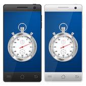 Smartphone stopwatch — Stock Vector
