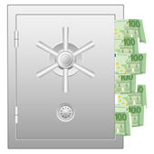Bank safe with one hundred euro banknotes — Stock Vector