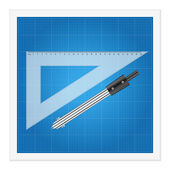 Blueprint und lineal instrumente — Stockvektor