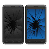 Cracked mobile phone — Stock Vector