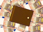 Wallet on fifty euro background — Stock Vector