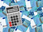 Calculator on twenty euro background — Stock Vector