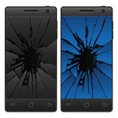 Cracked mobile phone — Stockvektor