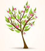 Tree with pink hearts — Stock Vector