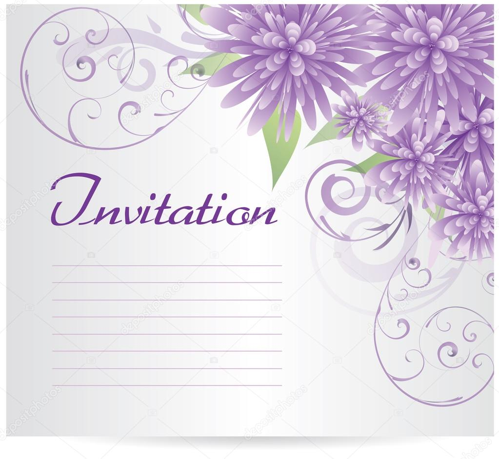 Invitation template blank with purple abstract flowers – Invitation Blank Template
