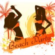 Beach party background with two dancing girls — Stock Vector #26303441