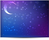Night background with moon and stars — Vector de stock