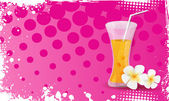 Grunge banner with glass of orange juice and plumeria flowers — Stock Vector