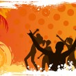 Grunge background with dancing people — Stock Vector