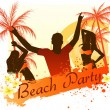 Beach party background with dancing people — Stock Vector