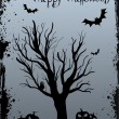Grunge Halloween background with tree and bats — Stock Vector