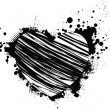 Black grunge heart — Vettoriali Stock