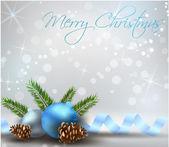 Weihnachten hellen hintergrund mit blauen dekorationen — Stockvektor