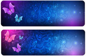 Two abstract banners with butterflies — Vecteur