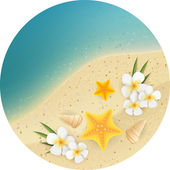 Sand and sea round banner — Stock Vector