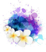 Abstract background with plumeria flowers — Stock Vector