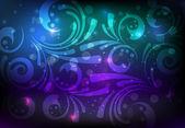 Floral glowing decoration on dark background — Cтоковый вектор