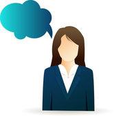 吹き出しを持つ女性実業家 — ストックベクタ
