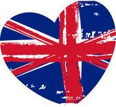 Grunge Britain flag in heart shape — Stockvector
