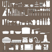 Kitchen tool icons collection — Stock Photo