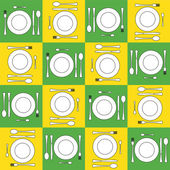 Seamless background with icons of kitchen ware — Stock Photo