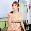 Woman Drink Wine — Stock Photo