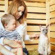 Mother, Baby and Cat — Stock Photo