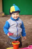 Chlapec hraje v karanténě — Stock fotografie