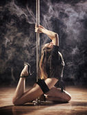 Pole Dance Woman — Stock Photo
