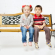 Children on Bench — Stock Photo