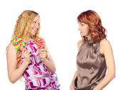 Two Women with Lollipop — Stock Photo