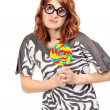 Crazy Woman With Lollipop — Stock Photo