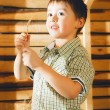 Boy on Hayloft — Stock Photo